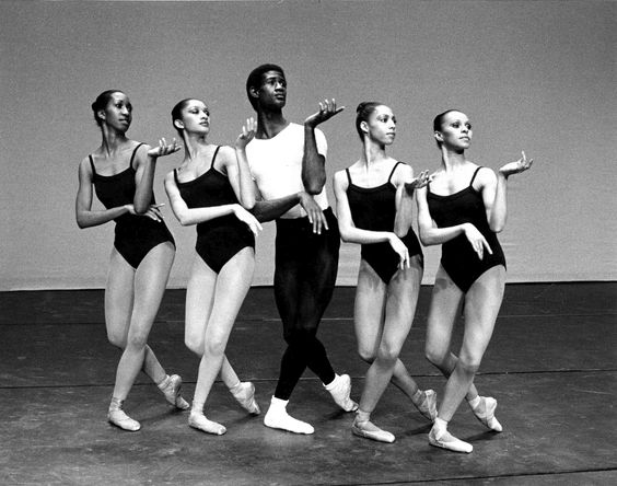 Mel Tomlinson and 4 dancers from Dance Theatre of Harlem in The Four Temperments, a ballet by George Balanchine.