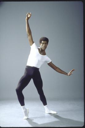 A studio portrait of Mel Tomlinson at New York City Ballet.